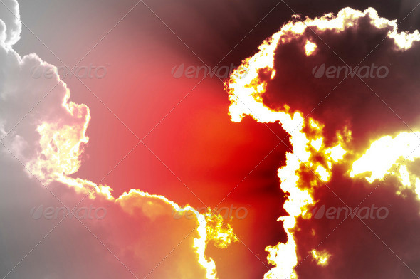 Red sky apocalyptic, end of the world concept, global warming - Stock Photo - Images