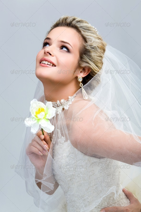 Bride with flower - Stock Photo - Images
