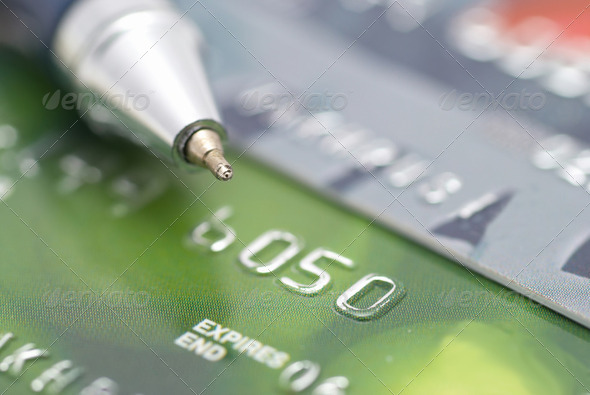 Credit cards with pen - Stock Photo - Images
