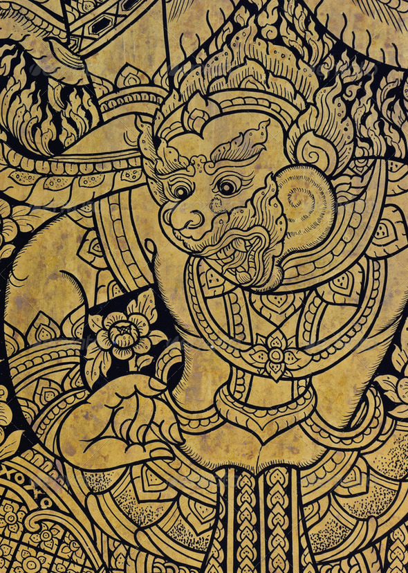 Thai art of Hanuman - Stock Photo - Images