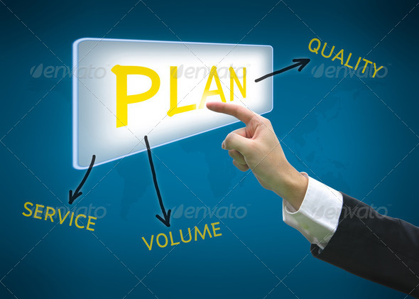 Business hand pointing button plan word - Stock Photo - Images