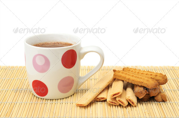 Cup of coffee and cookies - Stock Photo - Images