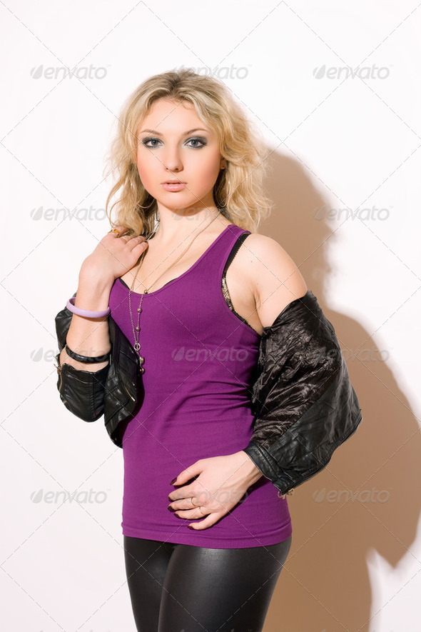 Lovely blond girl. Isolated - Stock Photo - Images