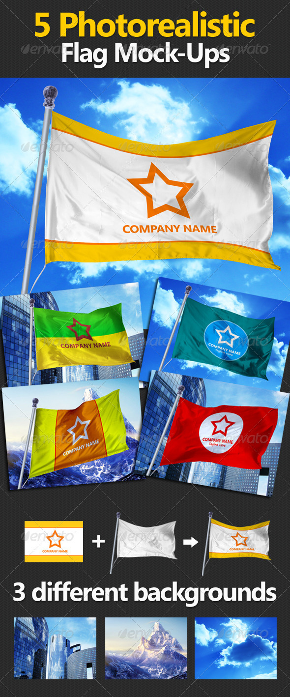 GraphicRiver 5 Photorealistic Flag Mock-Ups 3335771