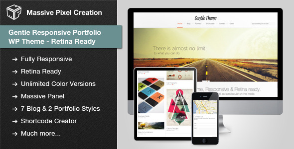ThemeForest Gentle Responsive Portfolio WP Theme Retina Ready 3349899