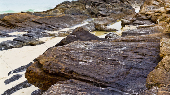 Rocks on the beach - Stock Photo - Images