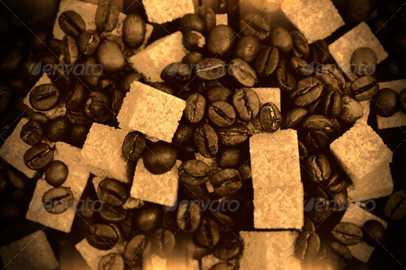 Coffee beans sepia - Stock Photo - Images