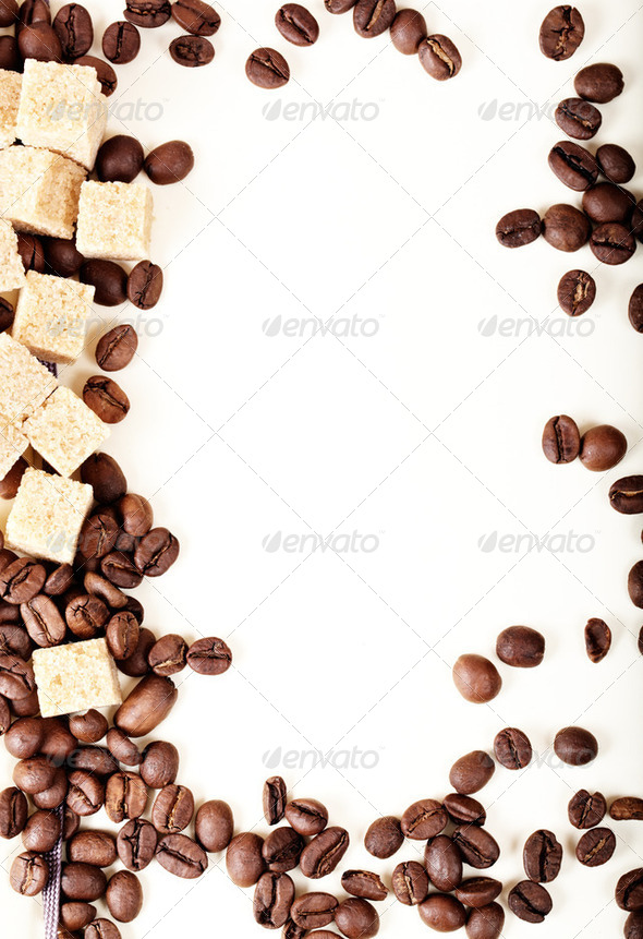 Coffee beans, paper, - Stock Photo - Images