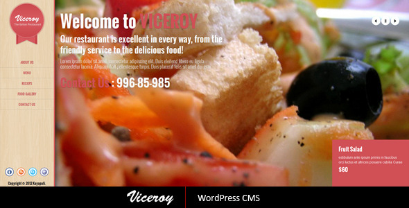 ThemeForest Viceroy Jquery Single page WordPress CMS 3349992