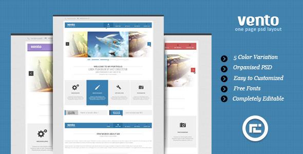 ThemeForest Vento Single Page Portfolio PSD Layout 3338898