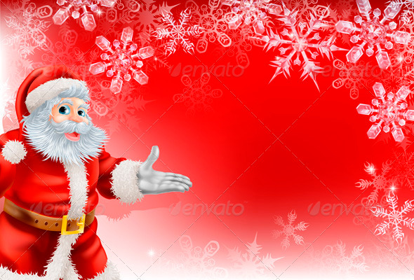 Red And White Snowflake Christmas Background Red Santa Christmas Snowflake