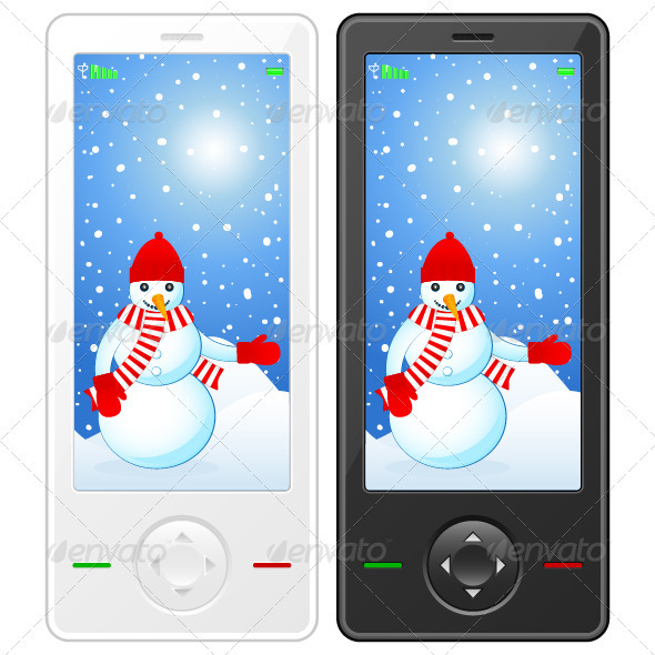GraphicRiver Mobile phone with snowman 3350294