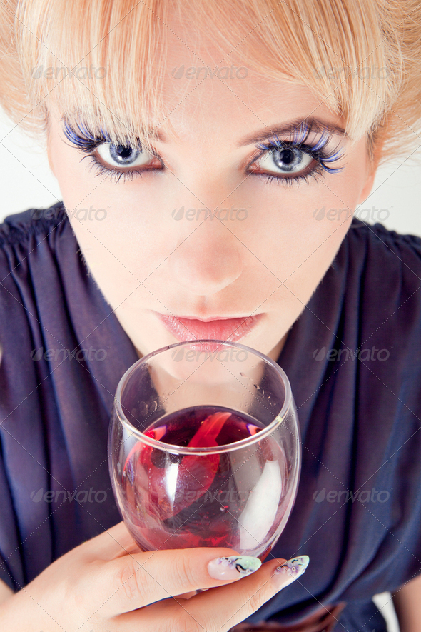 Beautiful woman with wine - Stock Photo - Images