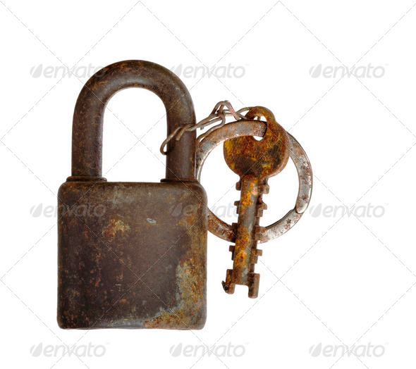 rusty padlock - isolated - Stock Photo - Images