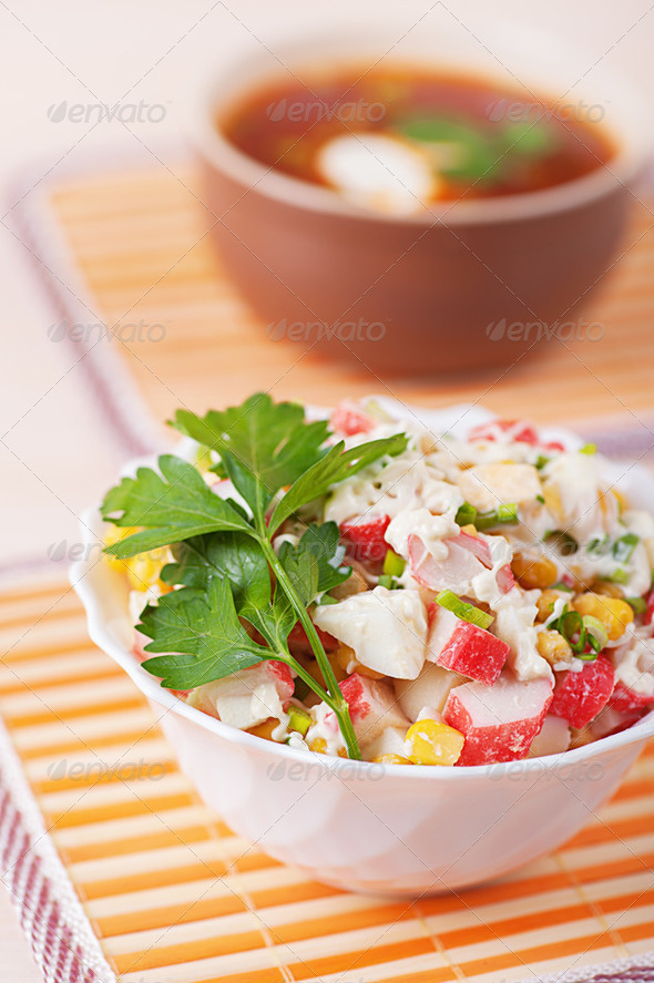 Crab salad and Russian borscht - Stock Photo - Images