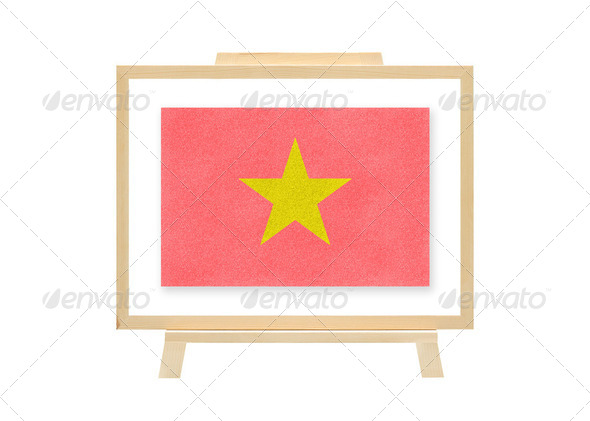 Football nations flag vietnam cork board (clipping path) - Stock Photo - Images