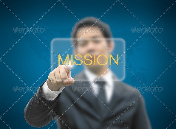 Business man concept pointing mission word - Stock Photo - Images