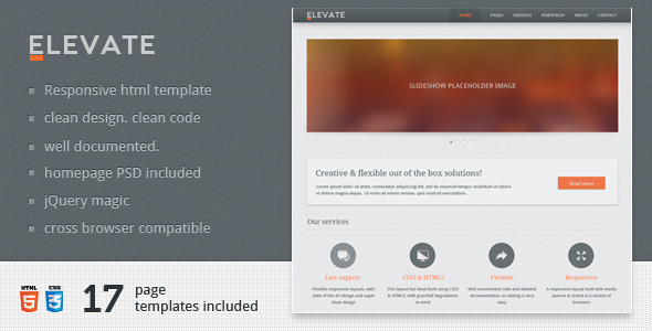 ThemeForest Elevate Responsive Multipurpose HTML Template 3350888
