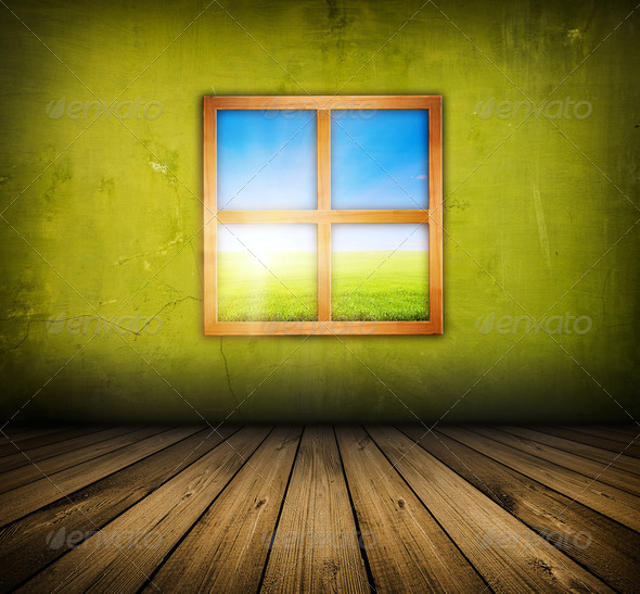 vintage interior with window - Stock Photo - Images