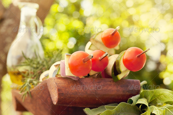 Vegetable kebab - Stock Photo - Images