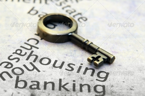 Old key on house text - Stock Photo - Images