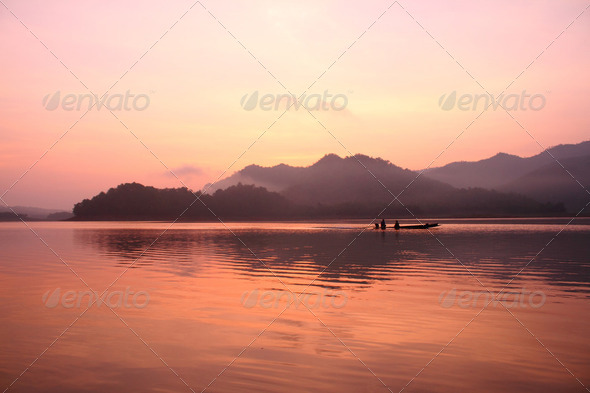lake landscape and old boat - Stock Photo - Images