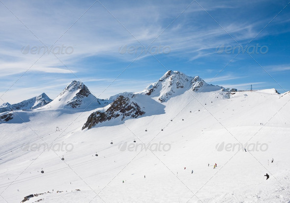 On the slopes of the ski resort of Solden. Austria - Stock Photo - Images
