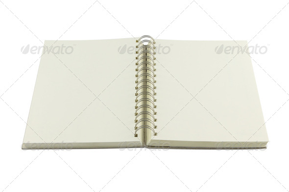 Perspective opened ring bind note book on white background. - Stock Photo - Images