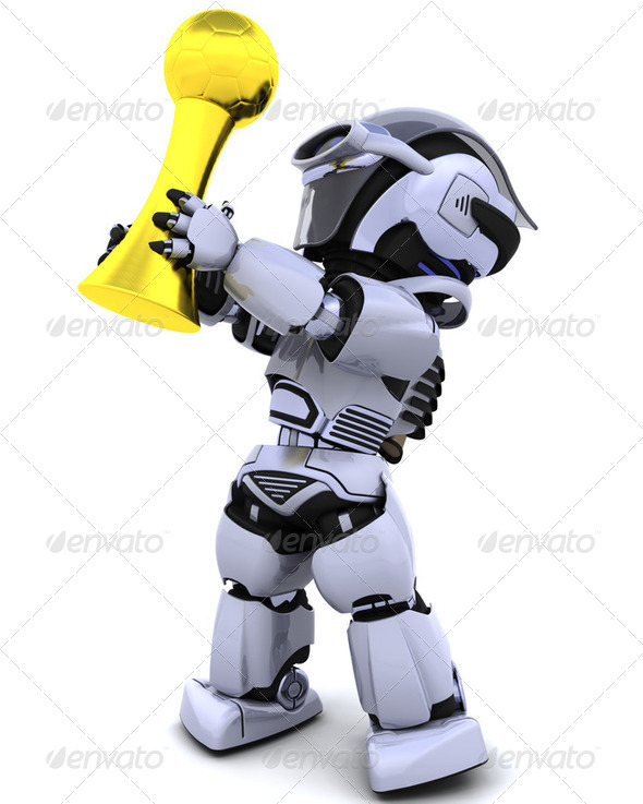 robot with soccer trophy - Stock Photo - Images