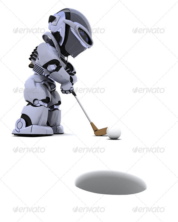 robot with club playing golf - Stock Photo - Images