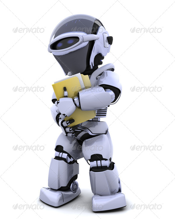 robot with document folder - Stock Photo - Images