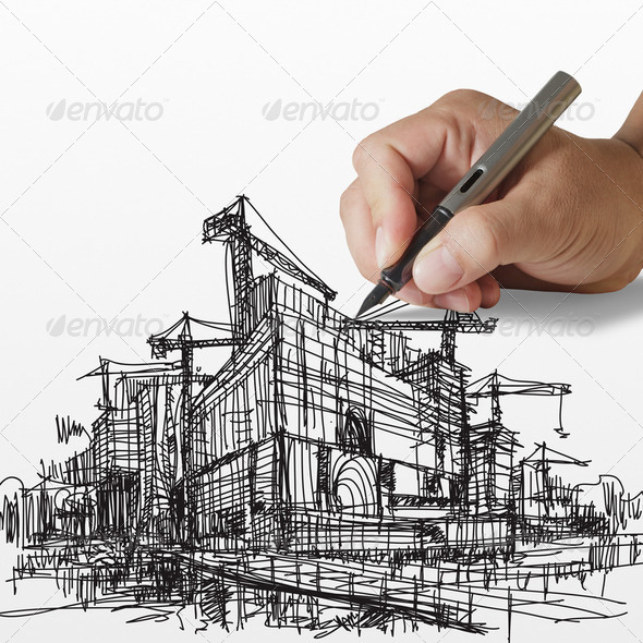 drawing construction building - Stock Photo - Images
