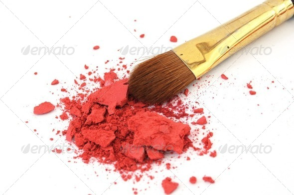 makeup brush and cosmetic powder - Stock Photo - Images