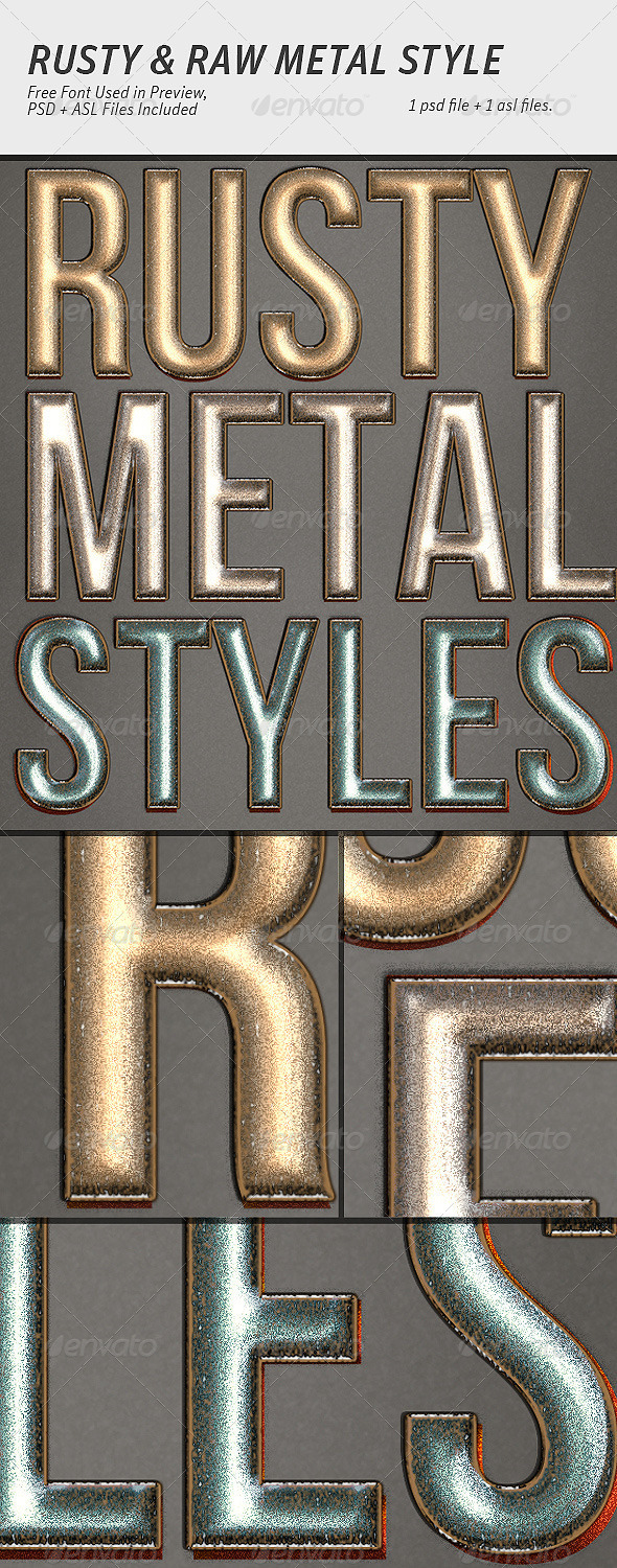 GraphicRiver 3 Rusty Metal Graphic Styles 3210606