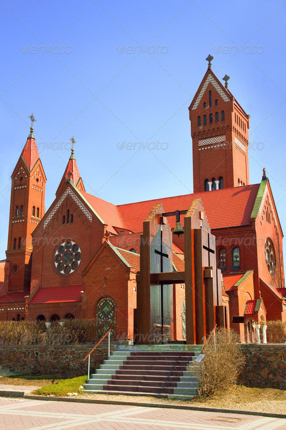 Catholic church of Saints Simon and Helena - Stock Photo - Images