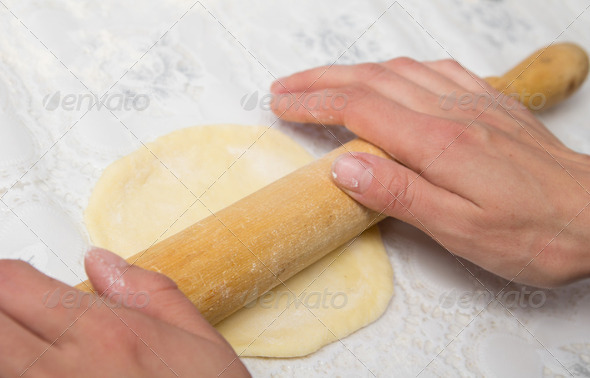 woman hands knead dough - Stock Photo - Images
