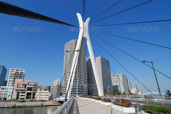 modern suspension bridge - Stock Photo - Images