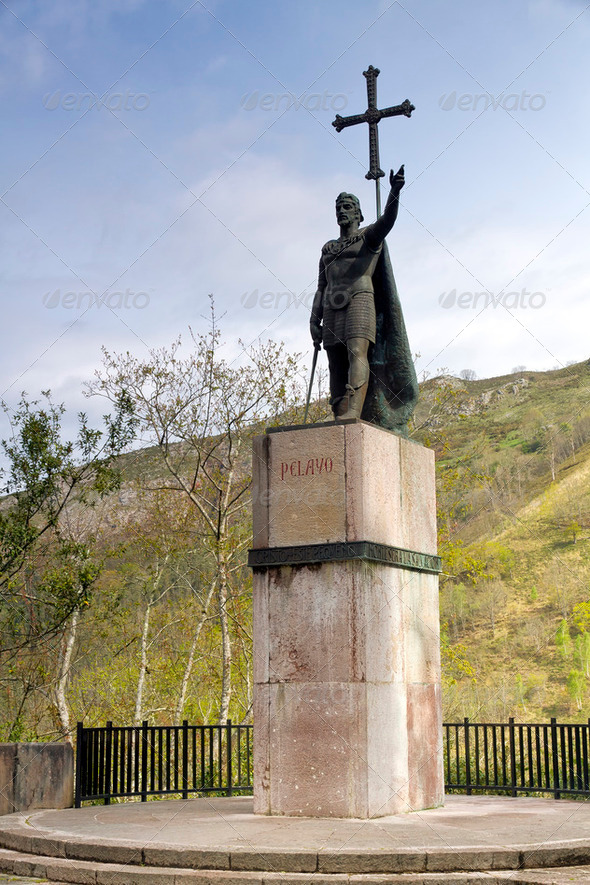 King Pelayo (Christian king of Asturias) in Covadonga Sanctuary, Asturias, Spain - Stock Photo - Images