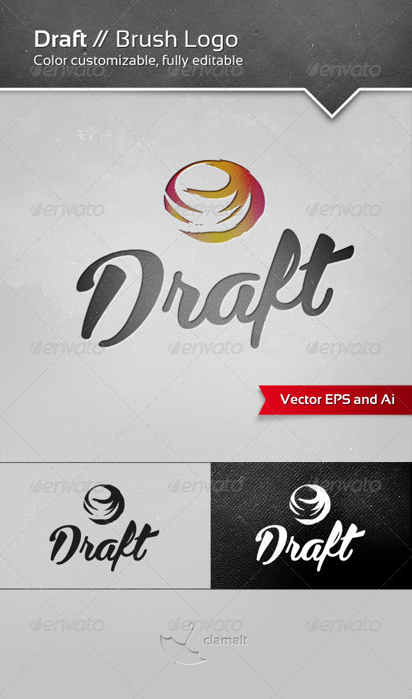 Draft Brush Logo - Symbols Logo Templates