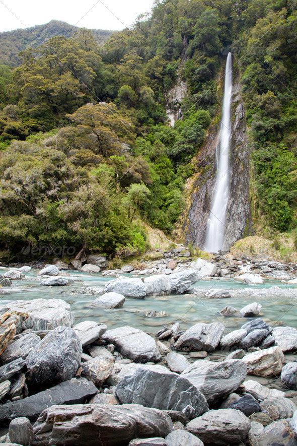 Thunder creek fall New Zealand - Stock Photo - Images