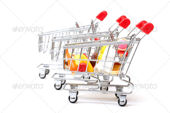 Shopping Carts with Food - Stock Photo - Images