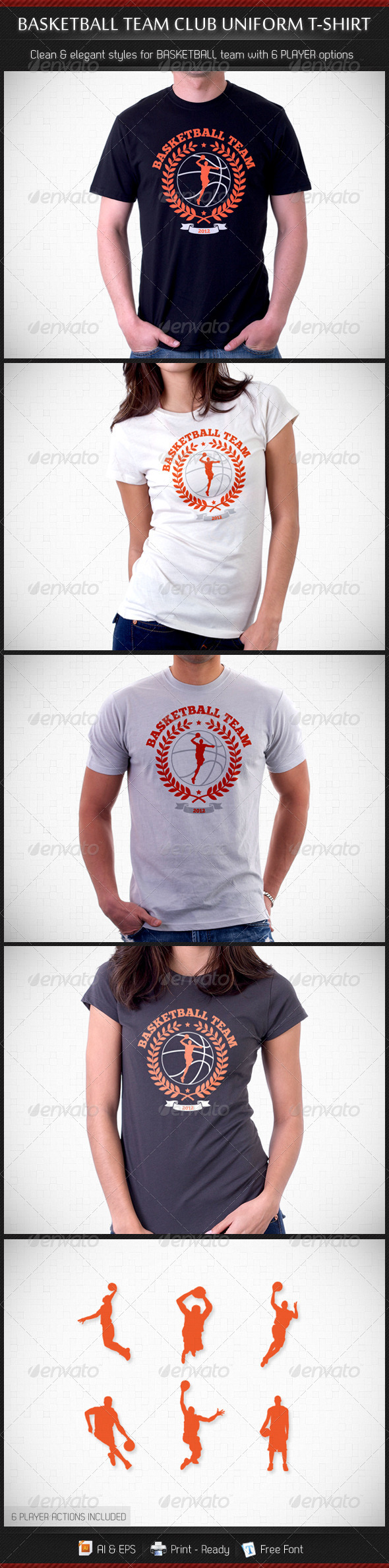 GraphicRiver Basketball Team Club Uniform T-Shirt 3351725