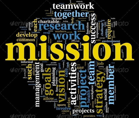 Mission concept in word tag cloud - Stock Photo - Images