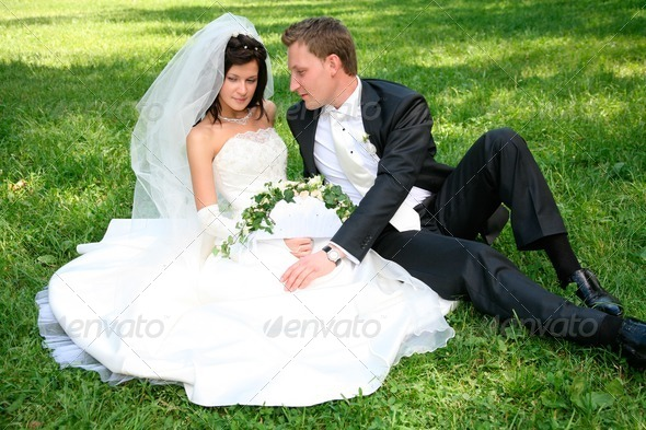 Couple on the grass - Stock Photo - Images