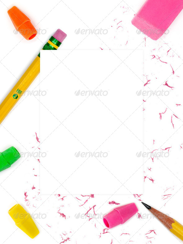 Pencil & eraser background - Stock Photo - Images