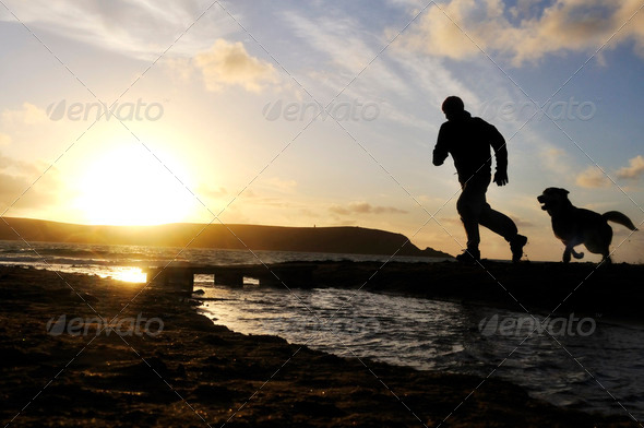 PhotoDune Silhouette Man Running With Dog 2373631