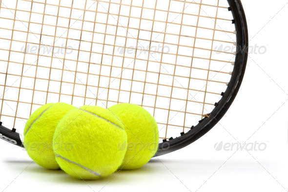 Tennis racket and ball on white background - Stock Photo - Images