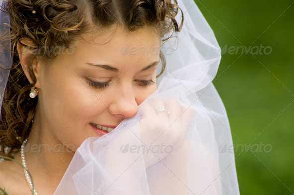 Woman with veil - Stock Photo - Images