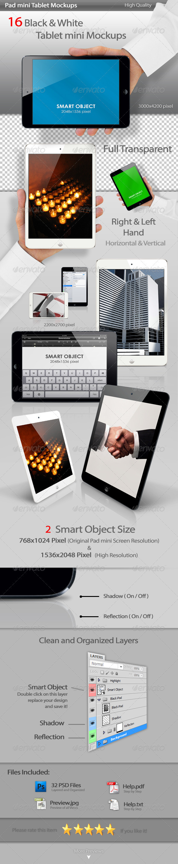 Pad mini Tablet Mockups - Mobile Displays