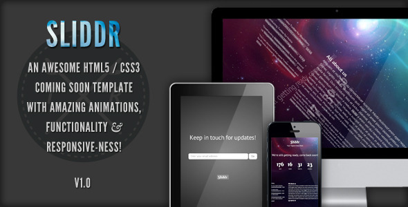 ThemeForest Sliddr Responsive Coming Soon Page 2675134